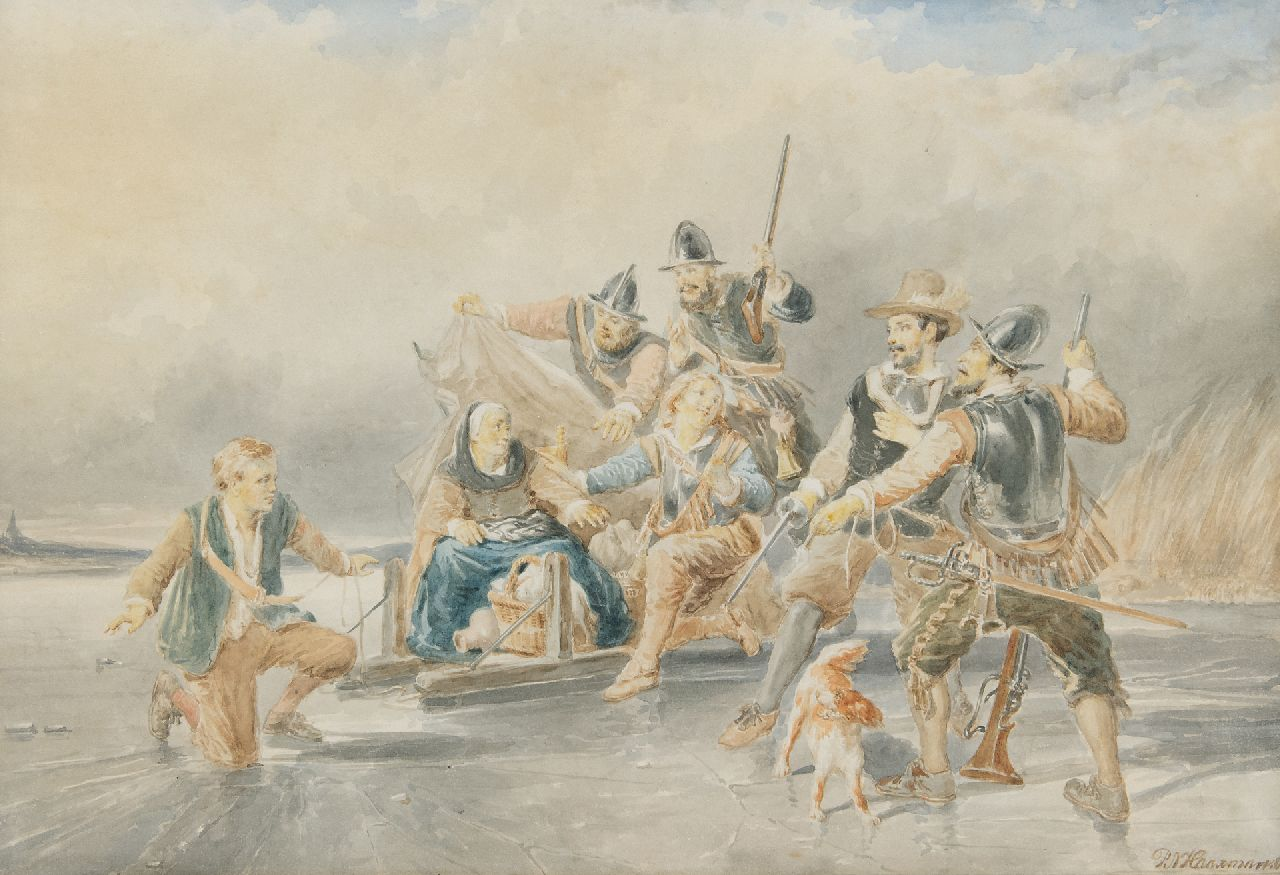 Pieter Alardus Haaxman | The escape of Lambert Melisz mother during the Eighty Years' War, watercolour on paper, 33.7 x 50.8 cm, signed l.r. and dated '66