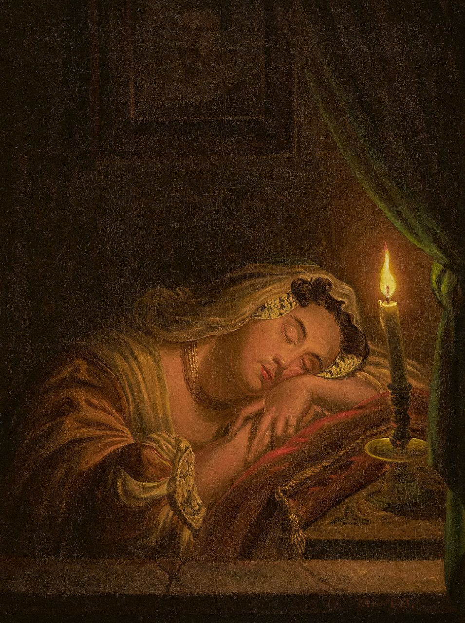 Willem Thans | Sleeping woman by candle light, oil on panel, 25.6 x 20.2 cm, signed l.r. and dated 1845