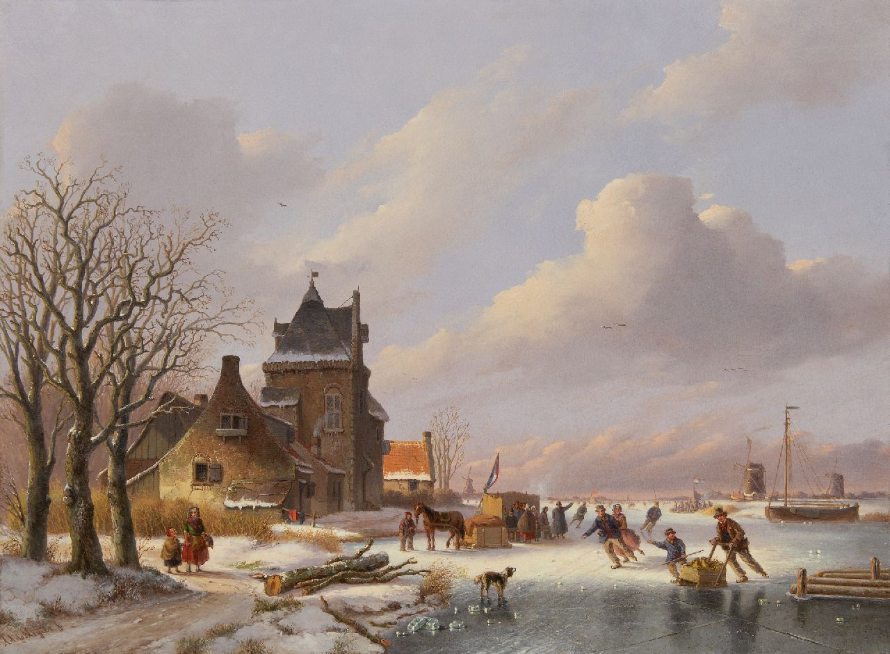 Meijier A.A. de | Anthony Andreas de Meijier | Paintings offered for sale | A winter landscape with skaters and a koek-en-zopie, oil on panel 53.5 x 72.9 cm, signed l.l.