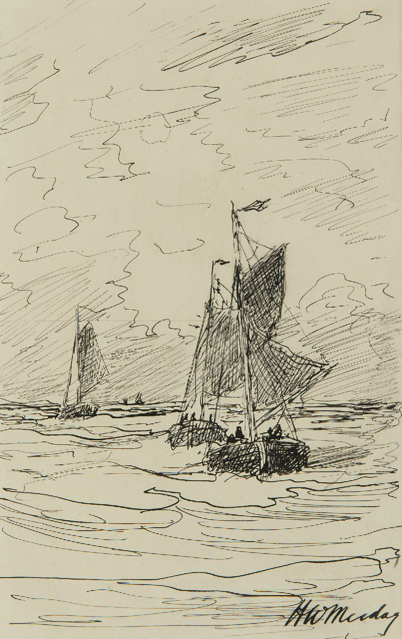 Mesdag H.W.  | Hendrik Willem Mesdag | Watercolours and drawings offered for sale | Fishing vessels at sea, pen and ink on paper 20.7 x 13.0 cm, signed l.r.