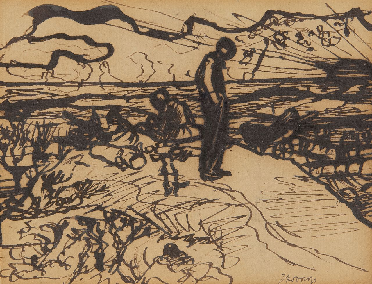 Toorop J.Th.  | Johannes Theodorus 'Jan' Toorop | Watercolours and drawings offered for sale | Vagabonds in the dunes, pen and ink on paper 12.1 x 14.4 cm, signed l.r. and dated l.m. 1890