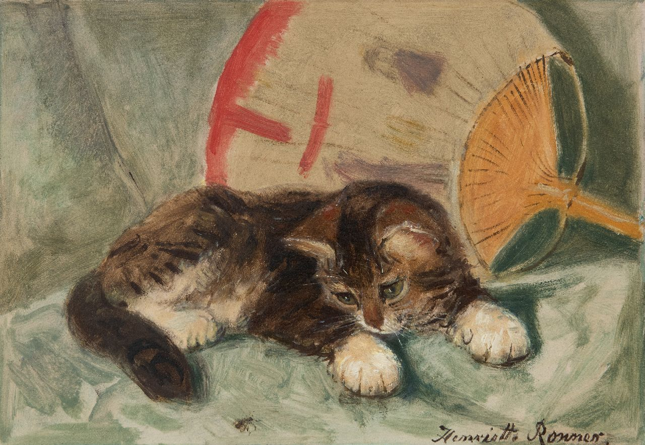 Ronner-Knip H.  | Henriette Ronner-Knip | Paintings offered for sale | A kitten observing a fly, oil on paper laid down on board 21.8 x 31.2 cm, signed l.r.