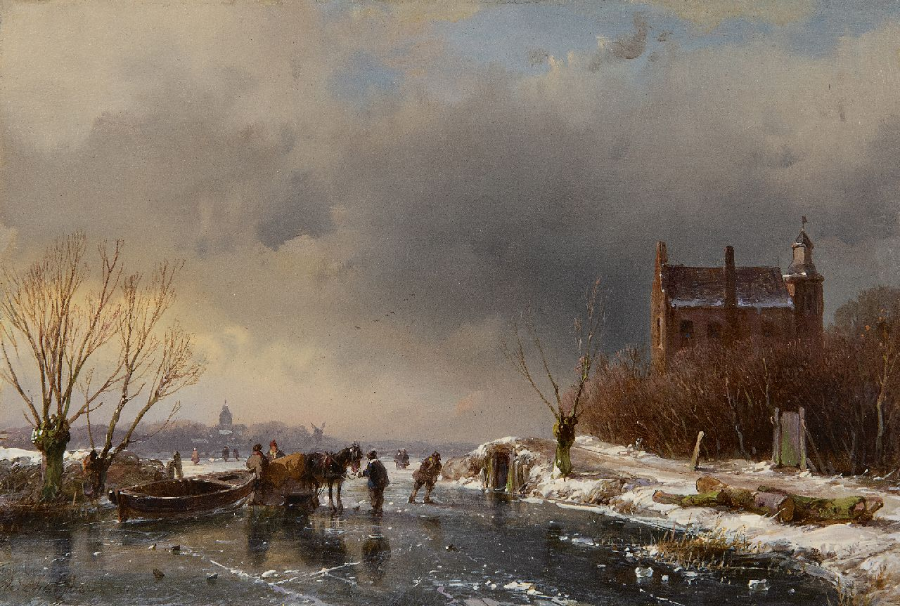 Schelfhout A.  | Andreas Schelfhout, A frozen waterway near a castle, oil on panel 15.3 x 22.7 cm, signed l.l. and dated '51