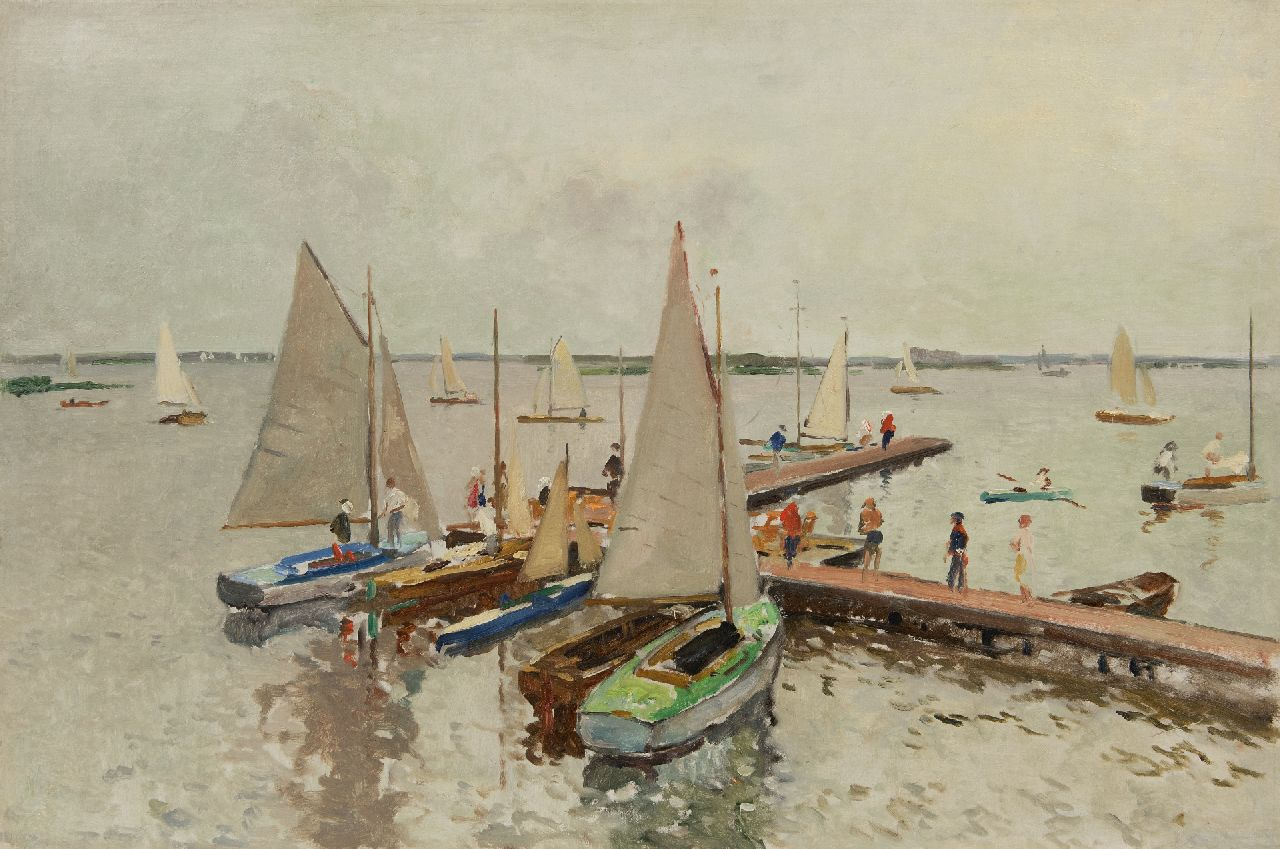 Vreedenburgh C.  | Cornelis Vreedenburgh | Paintings offered for sale | Docked sailing boats at the Loosdrechtse Plassen, oil on canvas 59.0 x 89.0 cm, signed l.r. (remains) and painted ca. 1937