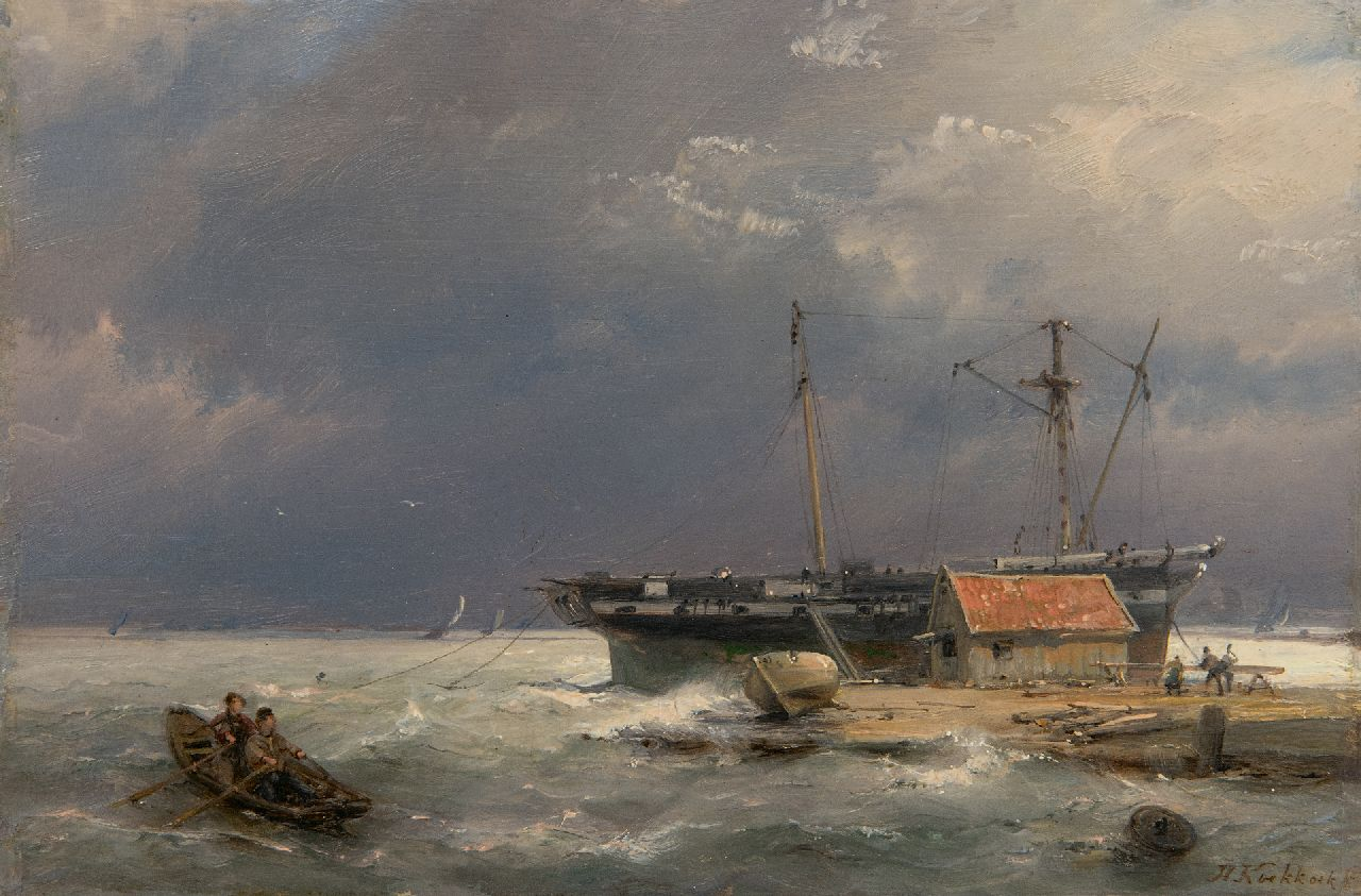 Koekkoek H.  | Hermanus Koekkoek, View on the IJ near Amsterdam, oil on panel 13.5 x 20.4 cm, signed l.r. and dated 1878 on the reverse