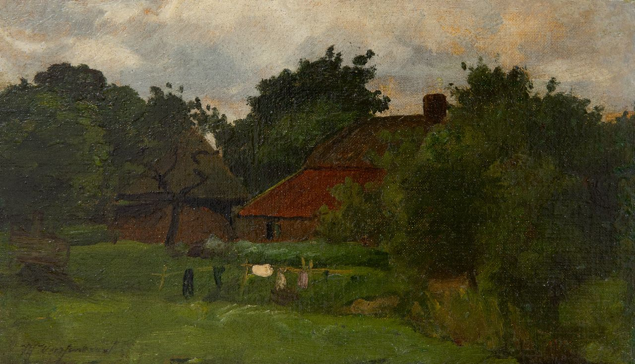 Weissenbruch H.J.  | Hendrik Johannes 'J.H.' Weissenbruch, A farmhouse with drying laundry, oil on canvas laid down on panel 15.4 x 26.1 cm, signed l.l.