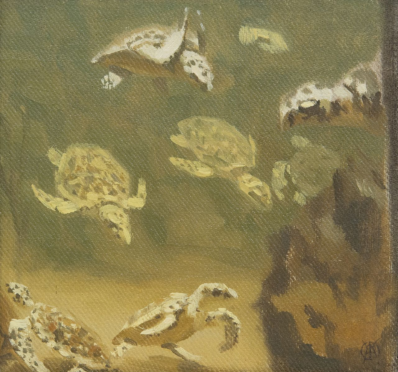 Dijsselhof G.W.  | Gerrit Willem Dijsselhof | Paintings offered for sale | Turtles, oil on panel 15.0 x 15.0 cm, signed l.r. with monogram