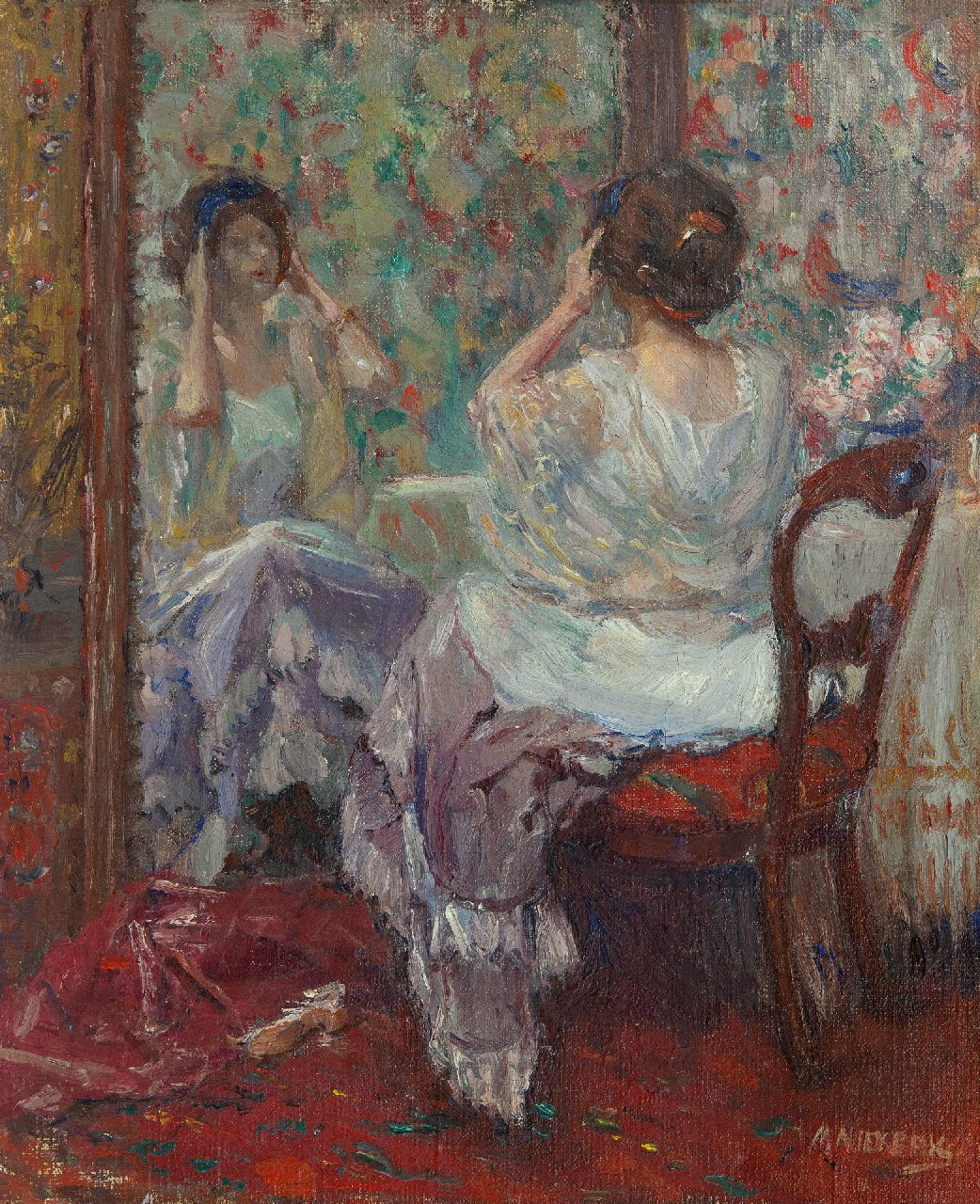 Niekerk M.J.  | 'Maurits' Joseph Niekerk | Paintings offered for sale | Lady in front of the mirror, oil on canvas 54.3 x 44.5 cm, signed l.r.