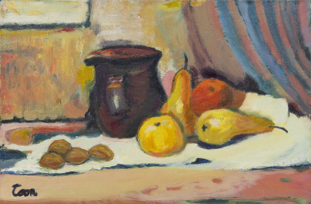 Toon Hermans | Still life with jug and pears, oil on canvas, 40.2 x 60.0 cm, signed l.l.