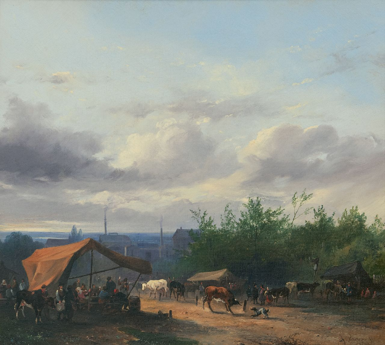 Jacobus Pelgrom | Cattle market, oil on canvas, 37.9 x 42.5 cm, signed l.r. and dated 1847