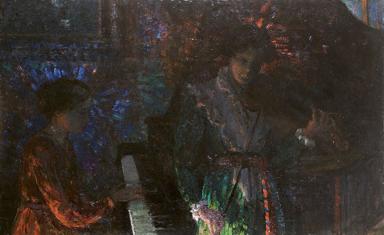 Kamerlingh Onnes H.H.  | 'Harm' Henrick Kamerlingh Onnes | Paintings offered for sale | The artist's sisters making music, oil on canvas 100.3 x 160.4 cm, signed l.r. and executed ca. 1916-1918