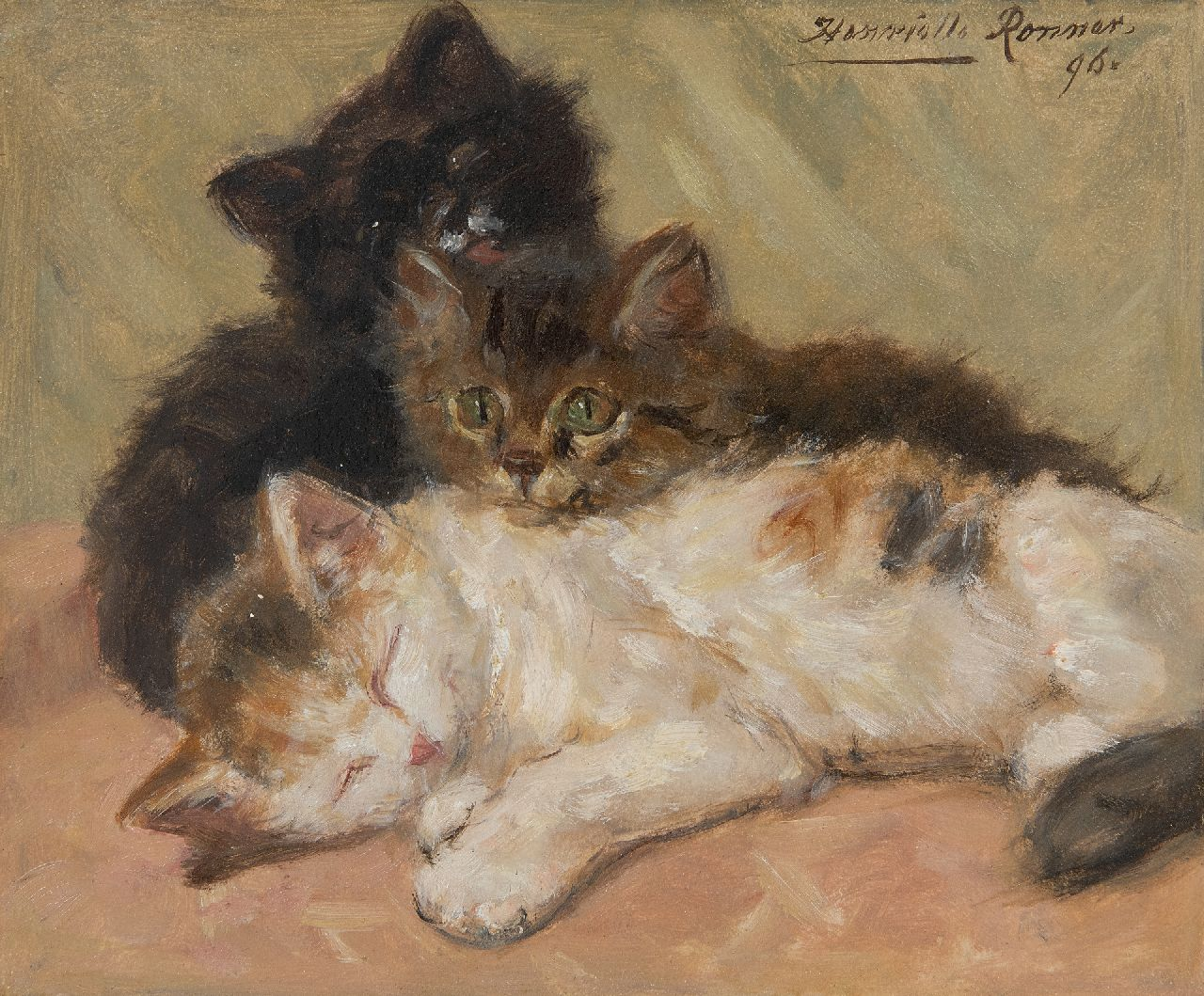 Ronner-Knip H.  | Henriette Ronner-Knip | Paintings offered for sale | Three kittens, oil on paper laid down on panel 19.0 x 22.5 cm, signed u.r. and dated '96