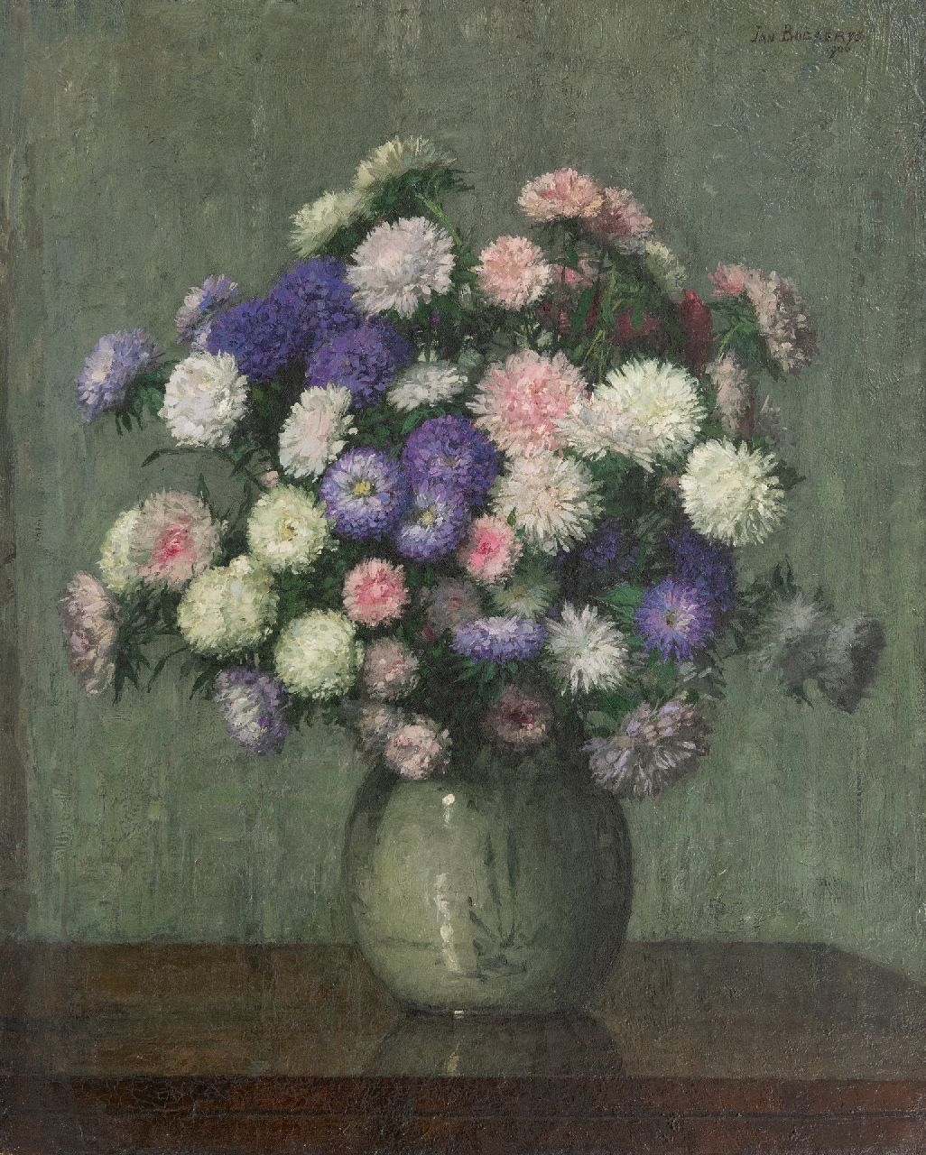 Bogaerts J.J.M.  | Johannes Jacobus Maria 'Jan' Bogaerts | Paintings offered for sale | Autumn asters in a vase, oil on canvas 61.9 x 50.2 cm, signed u.r. and dated 1906
