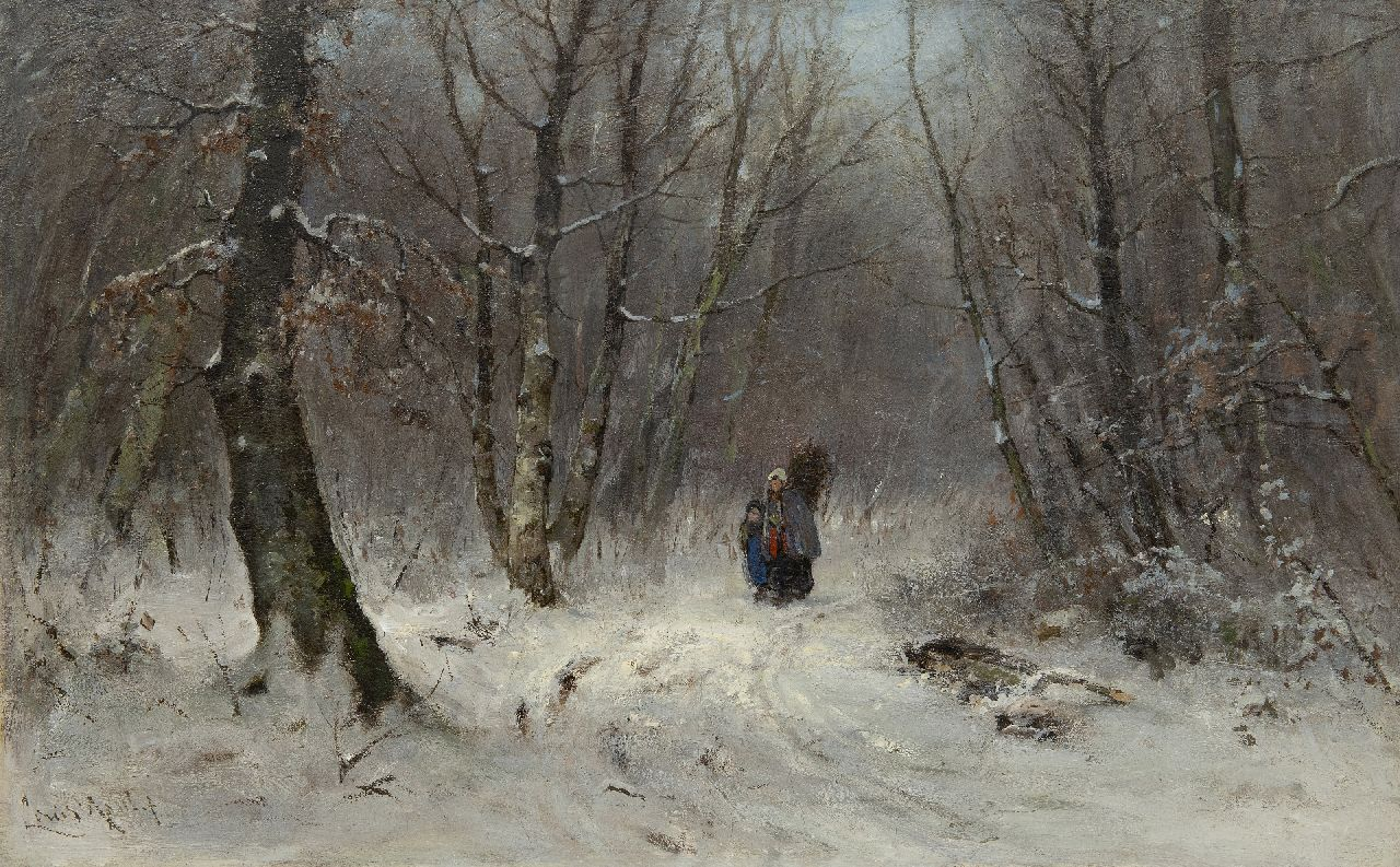 Apol L.F.H.  | Lodewijk Franciscus Hendrik 'Louis' Apol, Gathering wood in a snowy forest, oil on canvas 45.8 x 70.7 cm, signed l.l. and painted 1873-1875