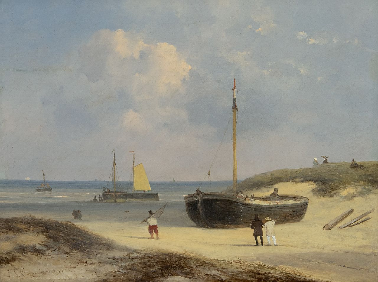 Hoppenbrouwers J.F.  | Johannes Franciscus Hoppenbrouwers | Paintings offered for sale | Elegant figures, fishermen and fishing boats on the beach at Scheveningen, oil on panel 22.4 x 29.0 cm, signed l.l.