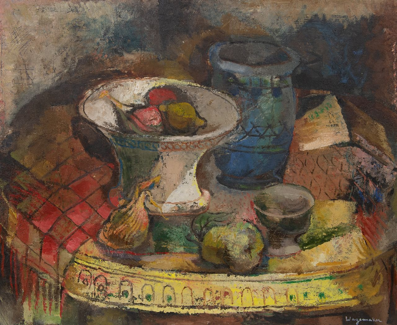 Wagemaker A.B.  | Adriaan Barend 'Jaap' Wagemaker | Paintings offered for sale | A still life with vases and fruit on a table, oil on canvas 70.4 x 85.3 cm, signed l.r.