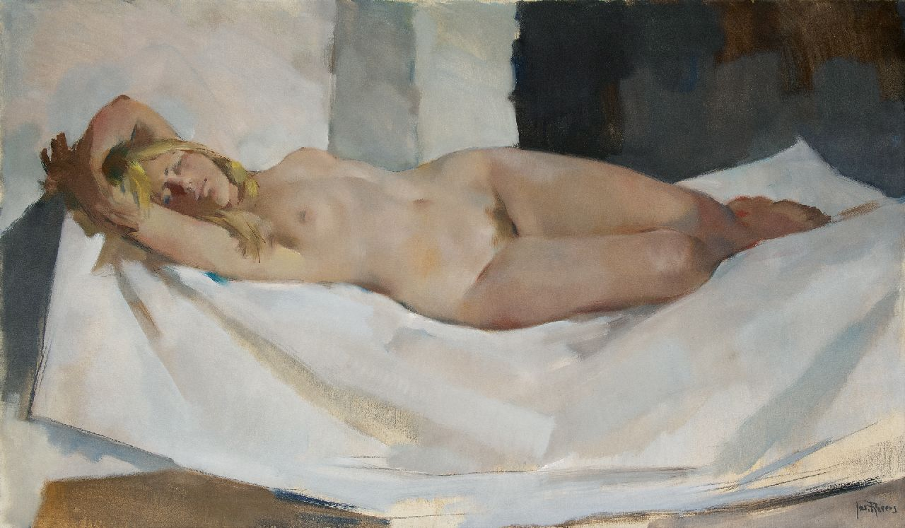 Rovers J.J.  | Joseph Johannes 'Jos' Rovers | Paintings offered for sale | Female nude, oil on canvas 100.0 x 170.0 cm, signed l.r.