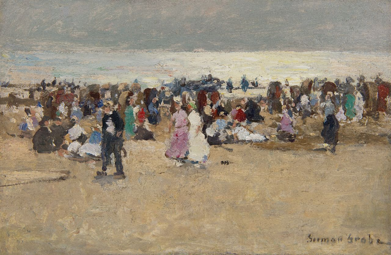 Grobe P.G.  | Philipp 'German' Grobe | Paintings offered for sale | Colourful gathering on the beach of Katwijk, oil on panel 23.9 x 36.0 cm, signed l.r.