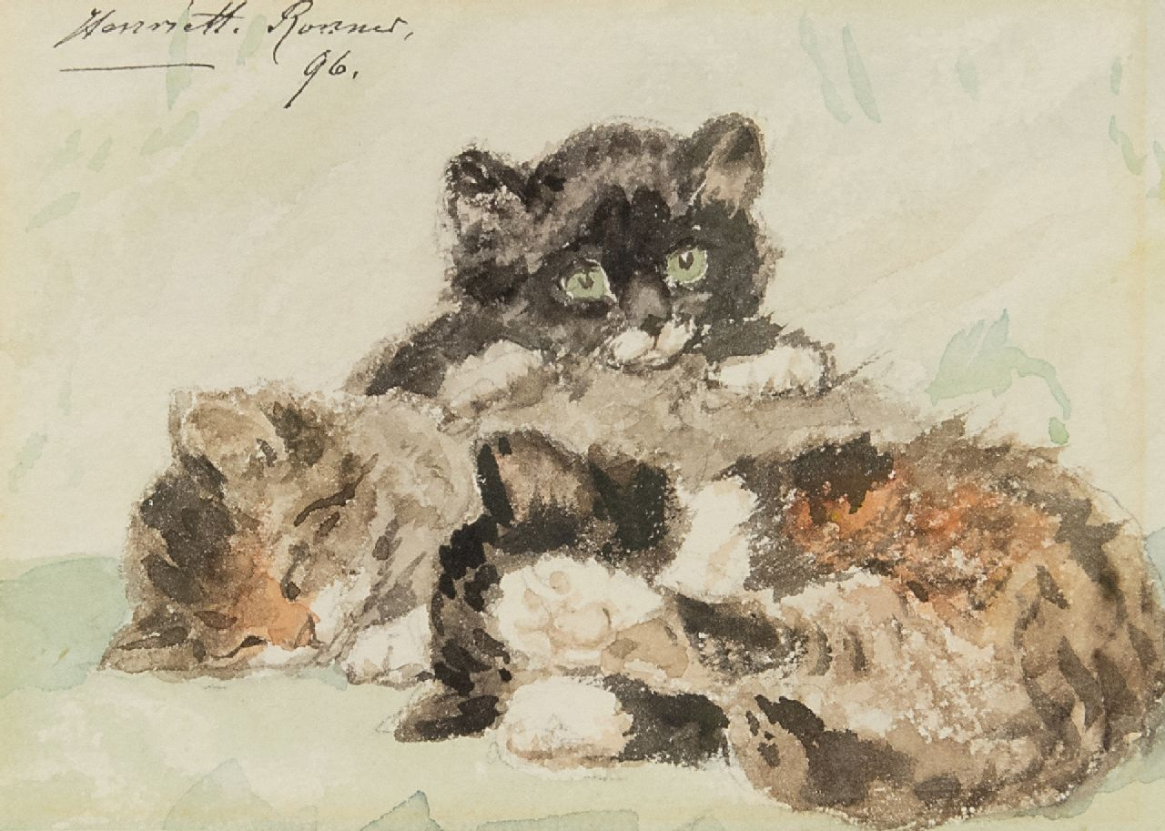 Ronner-Knip H.  | Henriette Ronner-Knip | Watercolours and drawings offered for sale | Three kittens, watercolour on paper 10.5 x 14.5 cm, signed u.l. and dated '96