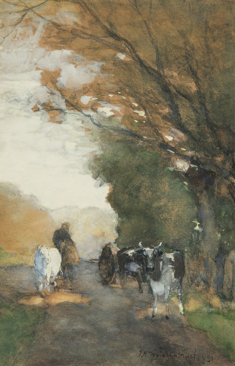 Weissenbruch H.J.  | Hendrik Johannes 'J.H.' Weissenbruch, Cows on a path along the edge of a forest, watercolour on paper 35.3 x 22.8 cm, signed l.r. and dated '91