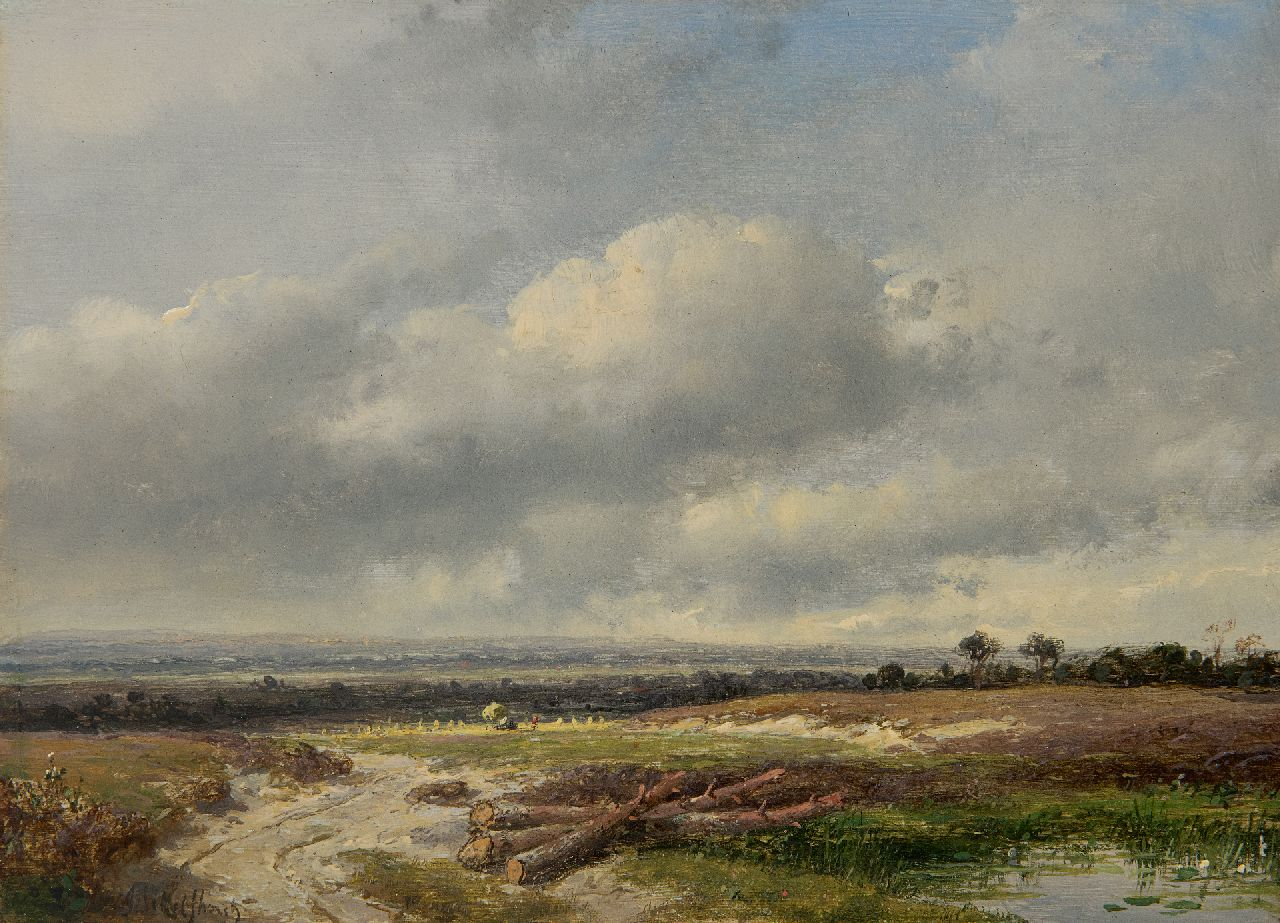 Schelfhout A.  | Andreas Schelfhout | Paintings offered for sale | Panoramic landscape under a Dutch sky, oil on panel 17.8 x 24.0 cm, signed l.l.