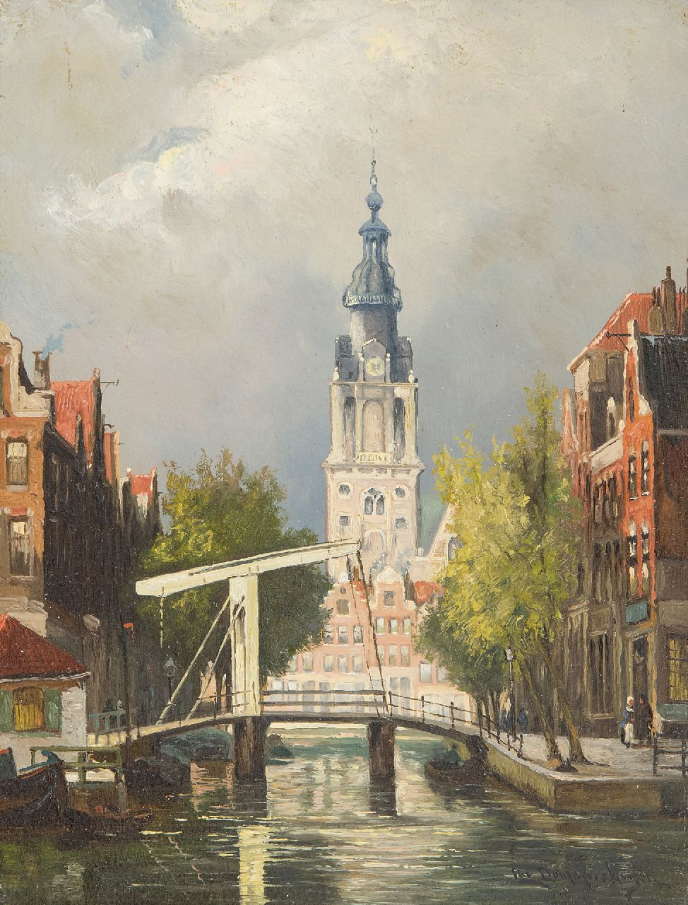 Cornelis Christiaan Dommelshuizen | A view of Amsterdam with the Zuiderkerk, oil on panel, 22.8 x 17.7 cm, signed l.r.