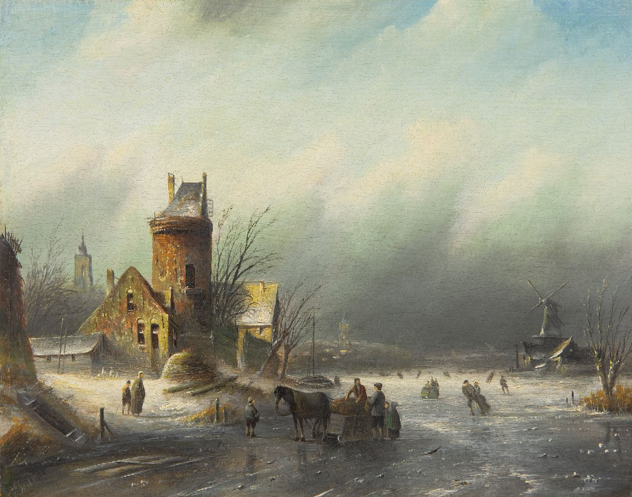 Jacob Jan Coenraad Spohler | A winter landscape with skaters on a frozen river, oil on panel, 21.5 x 27.1 cm, signed l.l.