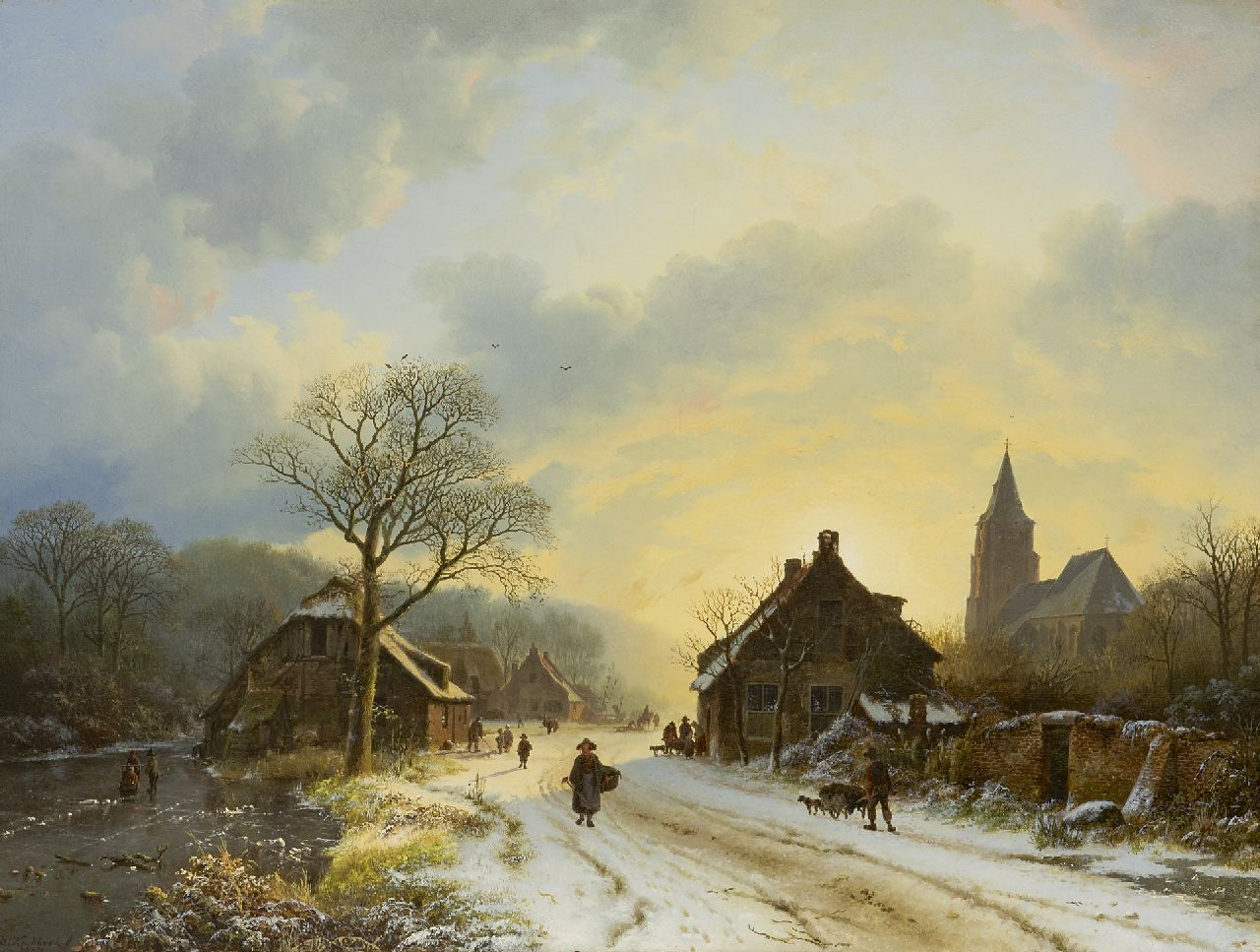 Koekkoek B.C.  | Barend Cornelis Koekkoek | Paintings offered for sale | Winter landscape with landfolk and figures on the ice, oil on canvas 39.7 x 52.4 cm, signed l.l. and dated 1837
