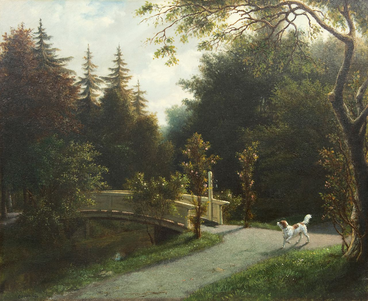 Eerelman O.  | Otto Eerelman | Paintings offered for sale | Hunting dog in a parc, oil on canvas 65.5 x 81.0 cm, signed l.l.