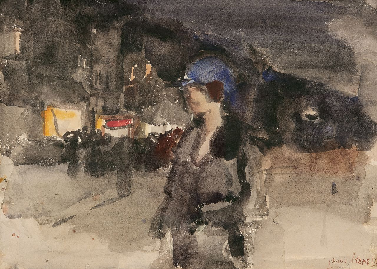 Israels I.L.  | 'Isaac' Lazarus Israels | Watercolours and drawings offered for sale | Elegant woman in Amsterdam shopping district by night, watercolour on paper 25.5 x 35.4 cm, signed l.r.
