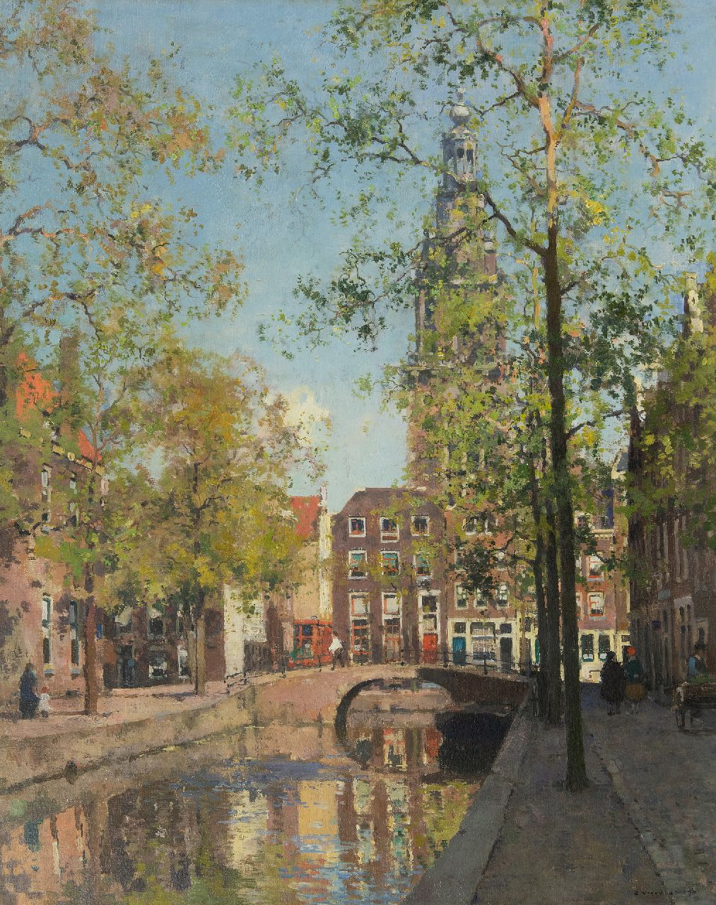 Vreedenburgh C.  | Cornelis Vreedenburgh | Paintings offered for sale | The Groenburgwal in Amsterdam with the tower of the Zuiderkerk, oil on canvas 73.4 x 59.3 cm, signed l.r.