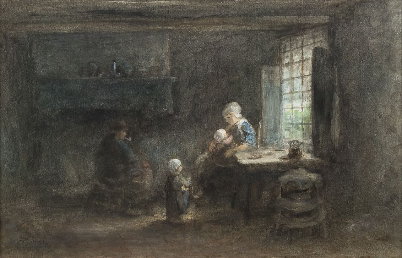 Jozef Israëls | The young family, pastel and watercolour on paper, 35.3 x 53.5 cm, signed l.l.