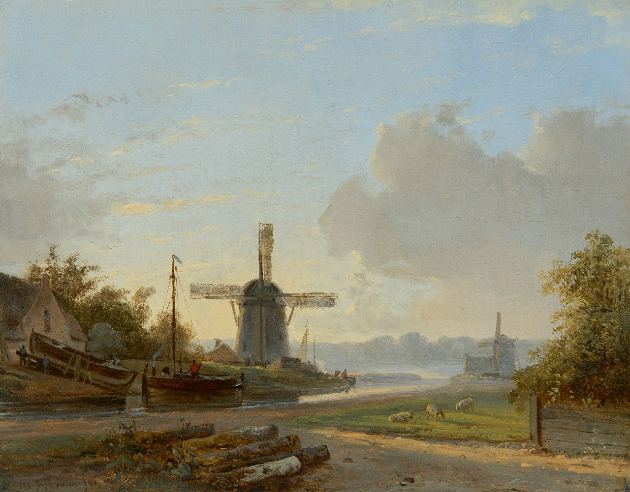 Petrus Marius Brouwer | River landscape with mills and shipyarsd, oil on panel, 25.7 x 32.5 cm, signed l.l. and dated '41