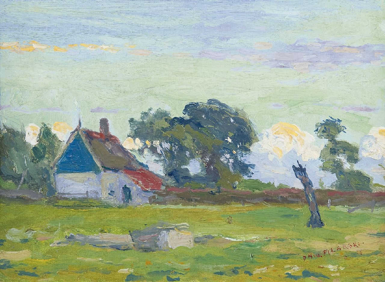 Filarski D.H.W.  | 'Dirk' Herman Willem Filarski | Paintings offered for sale | A farmhouse in summer, oil on canvas laid down on board 25.4 x 34.0 cm, signed l.r. and painted ca. 1908-1909