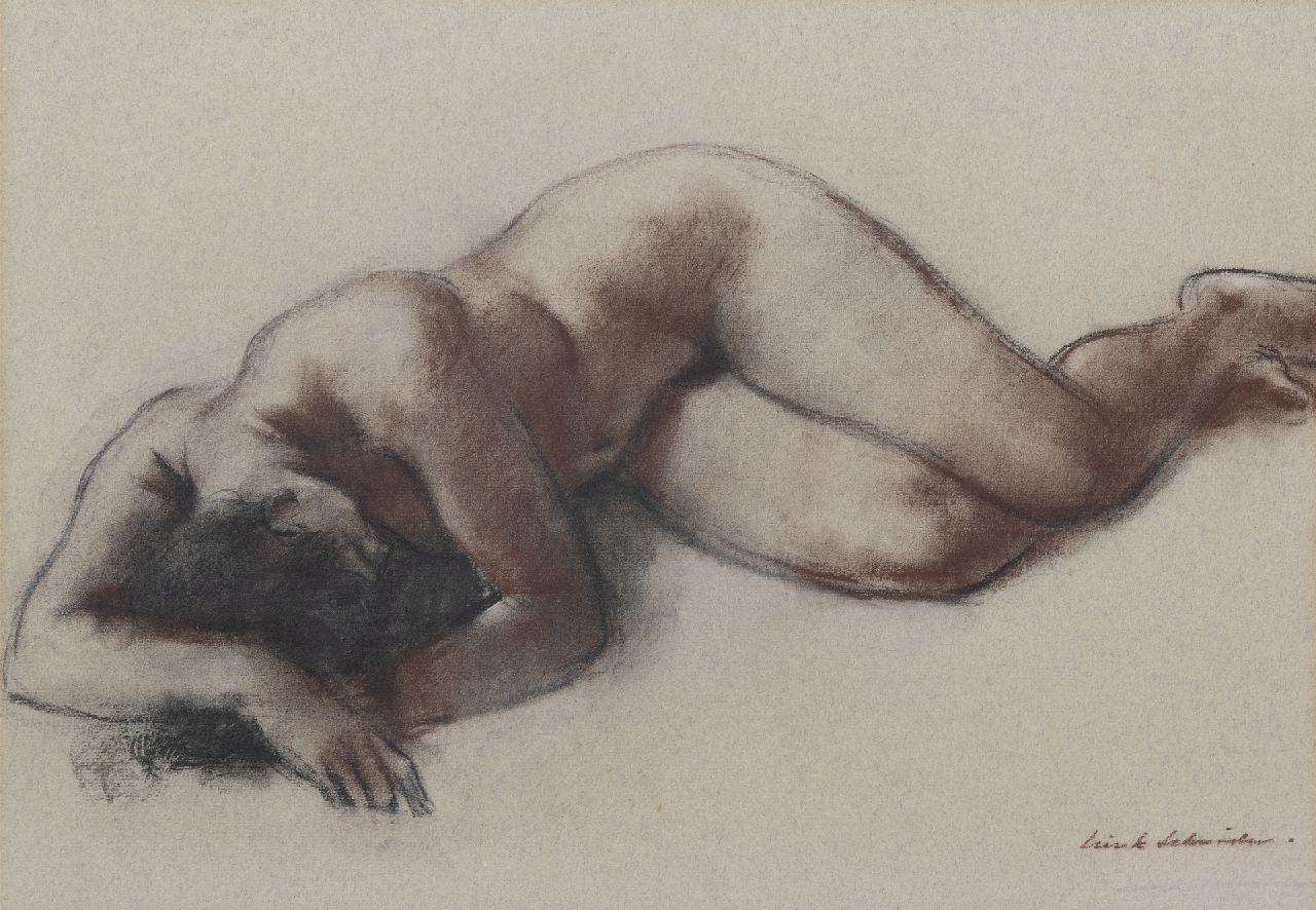 Sierk Schröder | Reclining nude, charcoal and chalk on coloured paper, 34.8 x 49.8 cm, signed l.r.