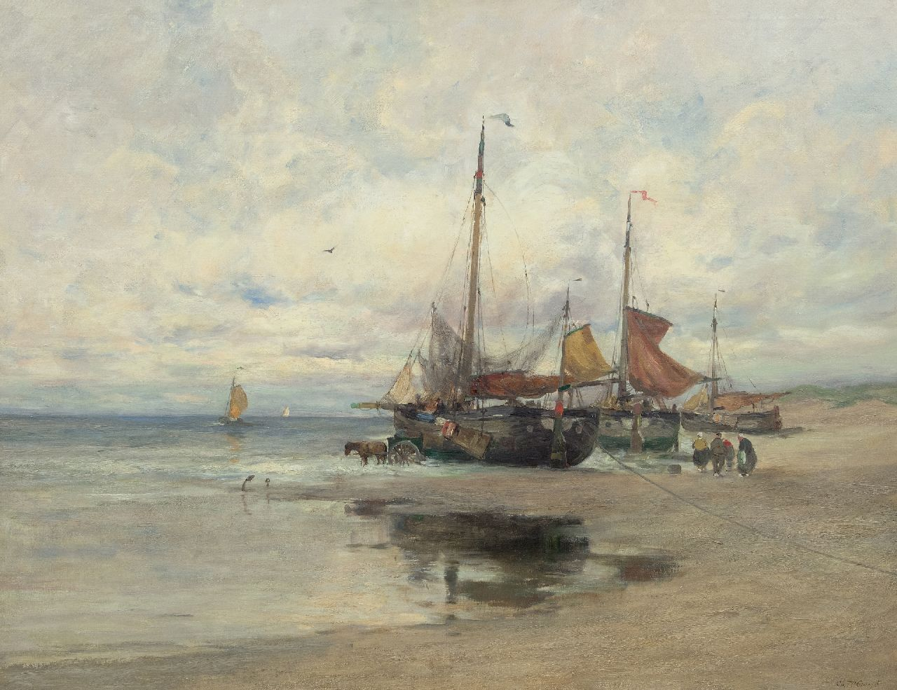 Gruppe C.P.  | Charles Paul Gruppe, Fishing boats on the beach, oil on canvas 101.7 x 131.8 cm, signed l.r. and painted ca. 1910