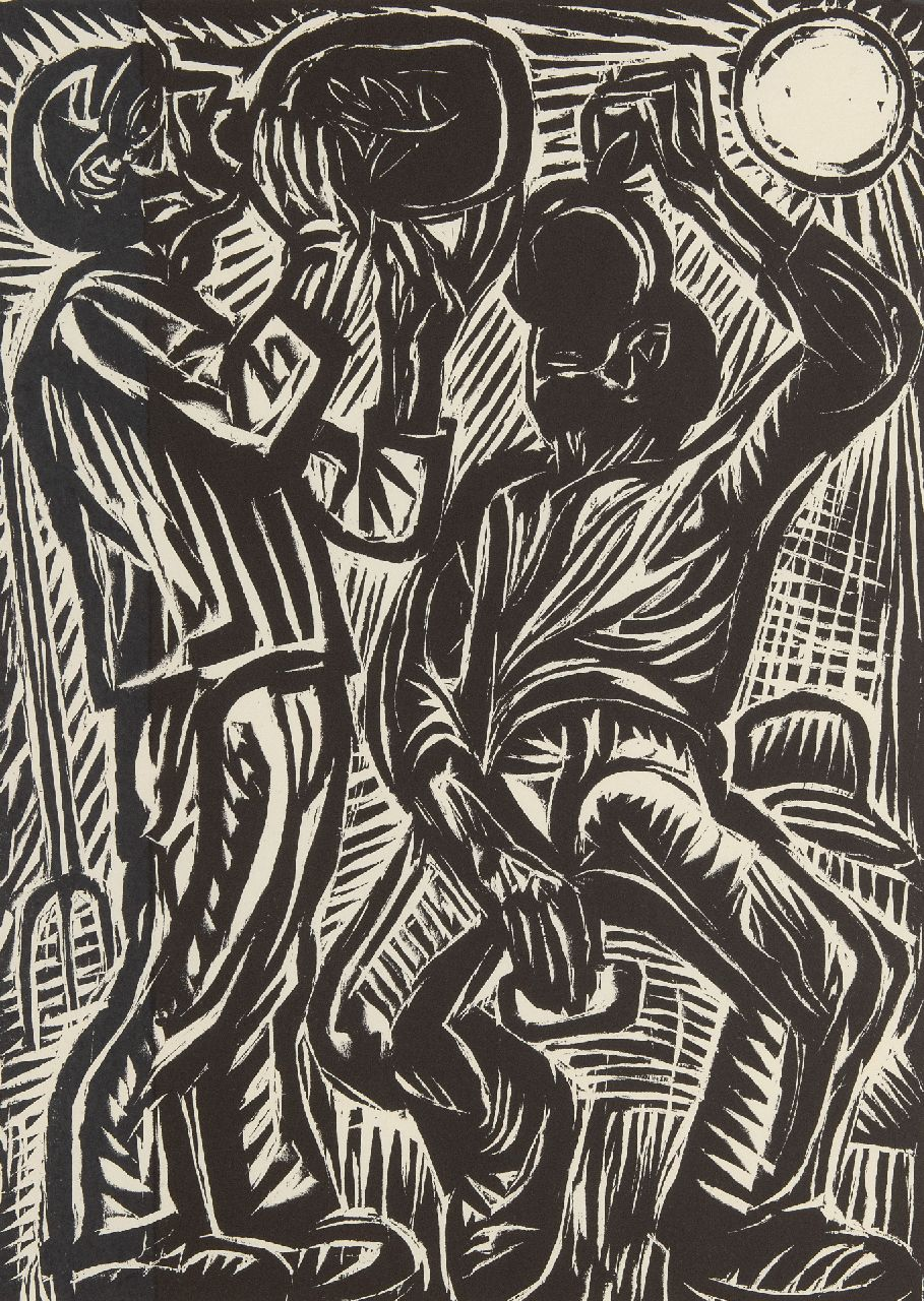 Dijkstra J.  | Johannes 'Johan' Dijkstra | Prints and Multiples offered for sale | Drinking farm labourers, woodcut on paper 50.0 x 37.0 cm