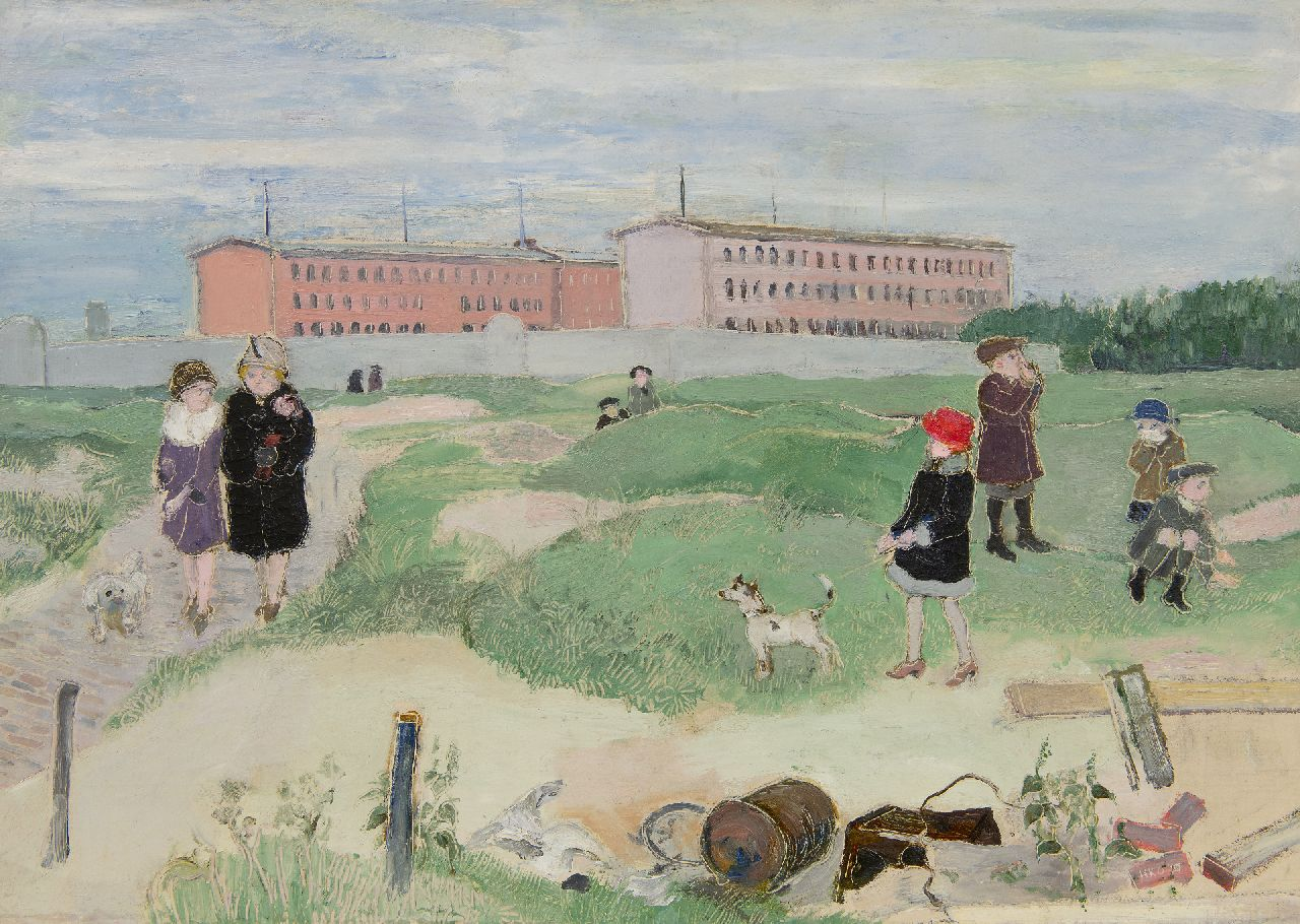 Kamerlingh Onnes H.H.  | 'Harm' Henrick Kamerlingh Onnes | Paintings offered for sale | Walking the dog, Scheveningen, oil on canvas 44.4 x 62.3 cm, signed l.r. with initials and dated '27