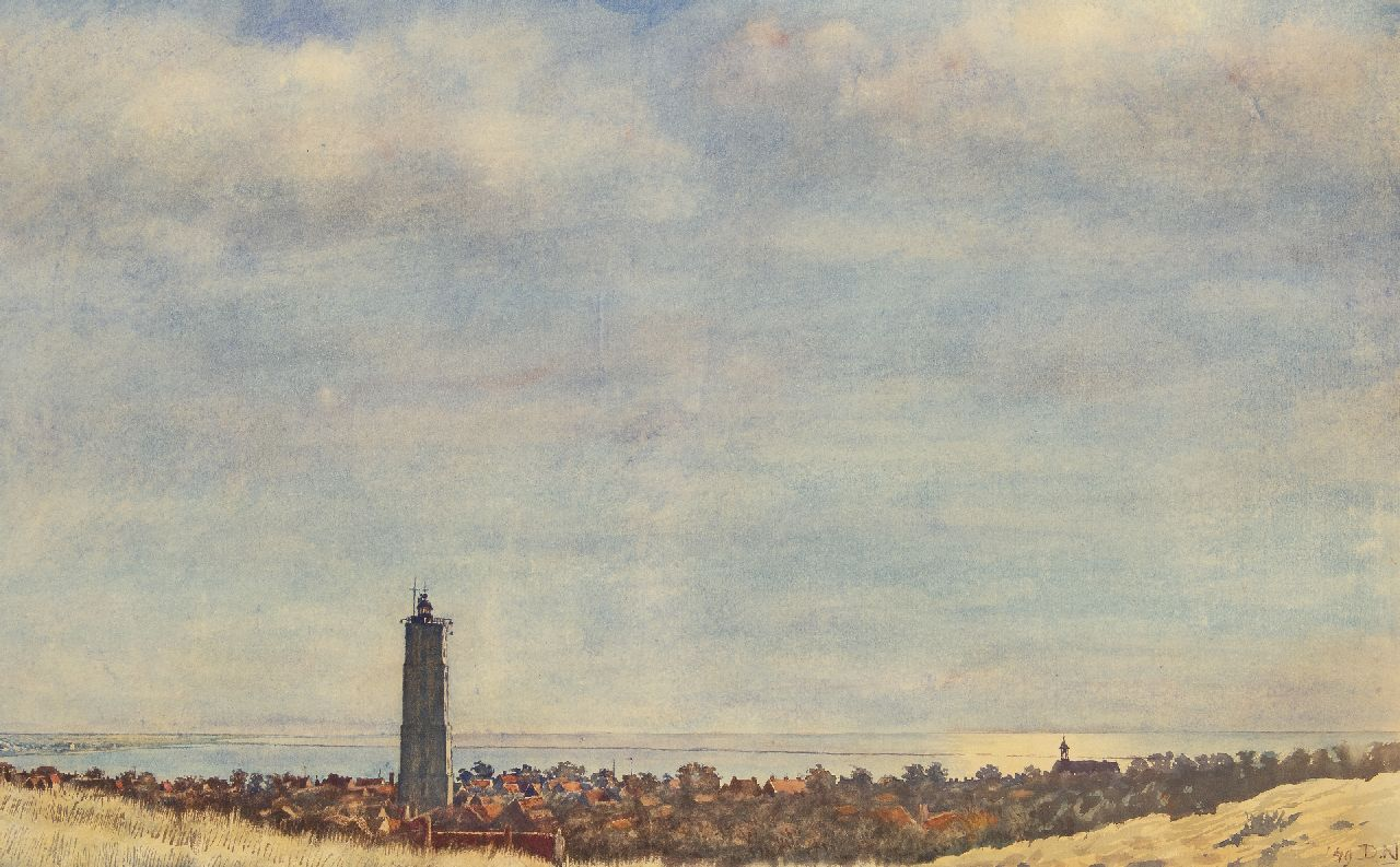 Dirk Nijland | A view of the Brandaris, Terschelling, watercolour on paper, 57.4 x 92.6 cm, signed l.r. with initials and dated '49