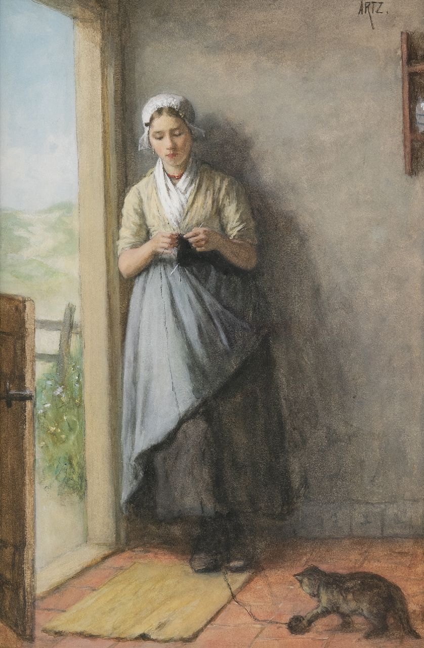 David Artz | Fisher girl knitting in the doorway, watercolour on paper, 53.8 x 36.0 cm, signed u.r.