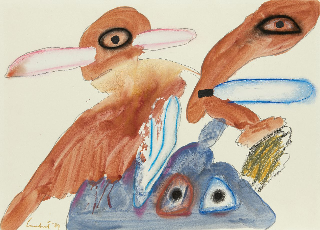 Lucebert (Lubertus Jacobus Swaanswijk)   | Lucebert (Lubertus Jacobus Swaanswijk) | Watercolours and drawings offered for sale | Three creatures, four eyes, pencil, chalk, watercolour and oil on paper 50.2 x 70.0 cm, signed l.l. and dated '89