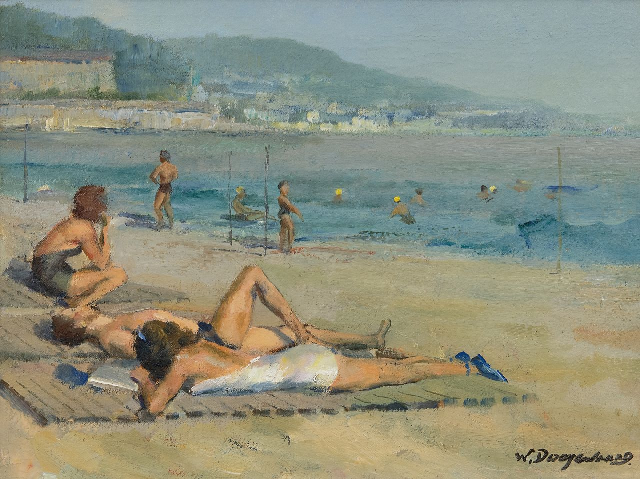 Willem Dooijewaard | Sunbathe on the beach of Nice, oil on canvas, 32.3 x 43.2 cm, signed l.r. and painted in the 1930's