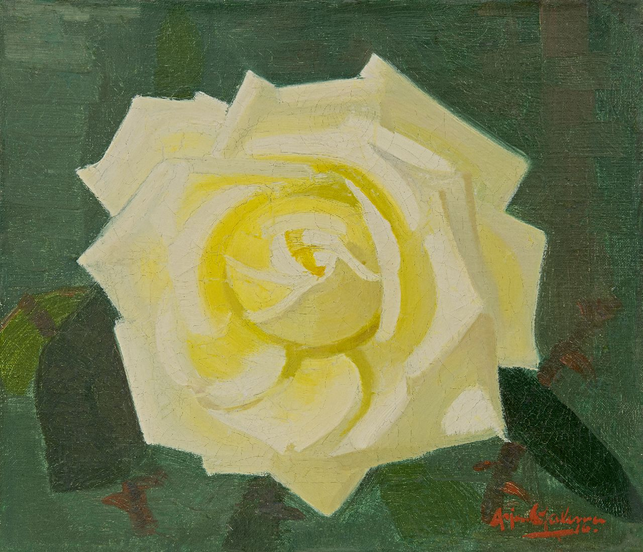 Arjen Galema | Yellow rose, oil on canvas, 25.3 x 29.6 cm, signed l.r.