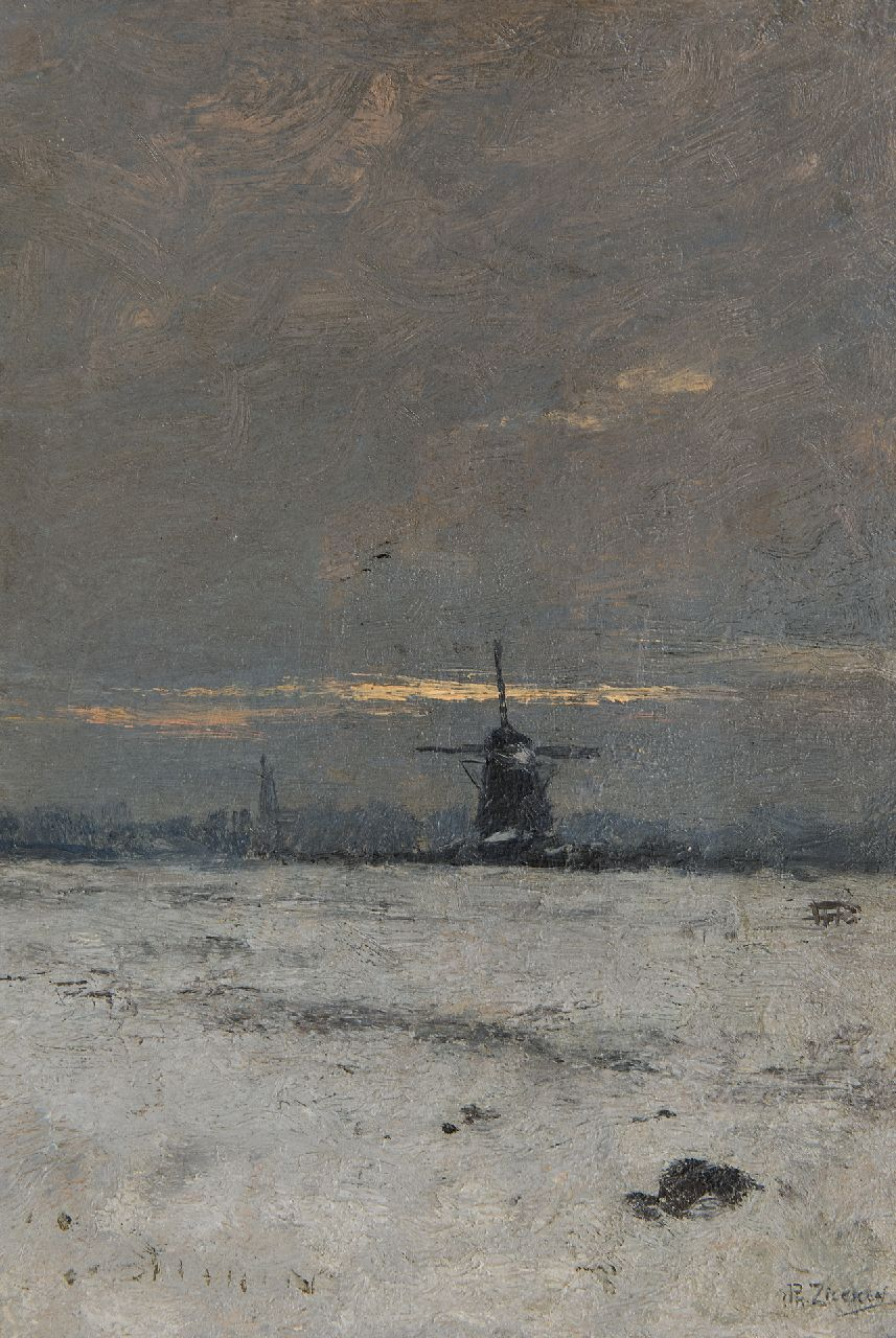 Philip Zilcken | A windmill in a snowy landscape at sunset, oil on panel, 29.7 x 20.3 cm, signed l.r. and painted ca. 1903