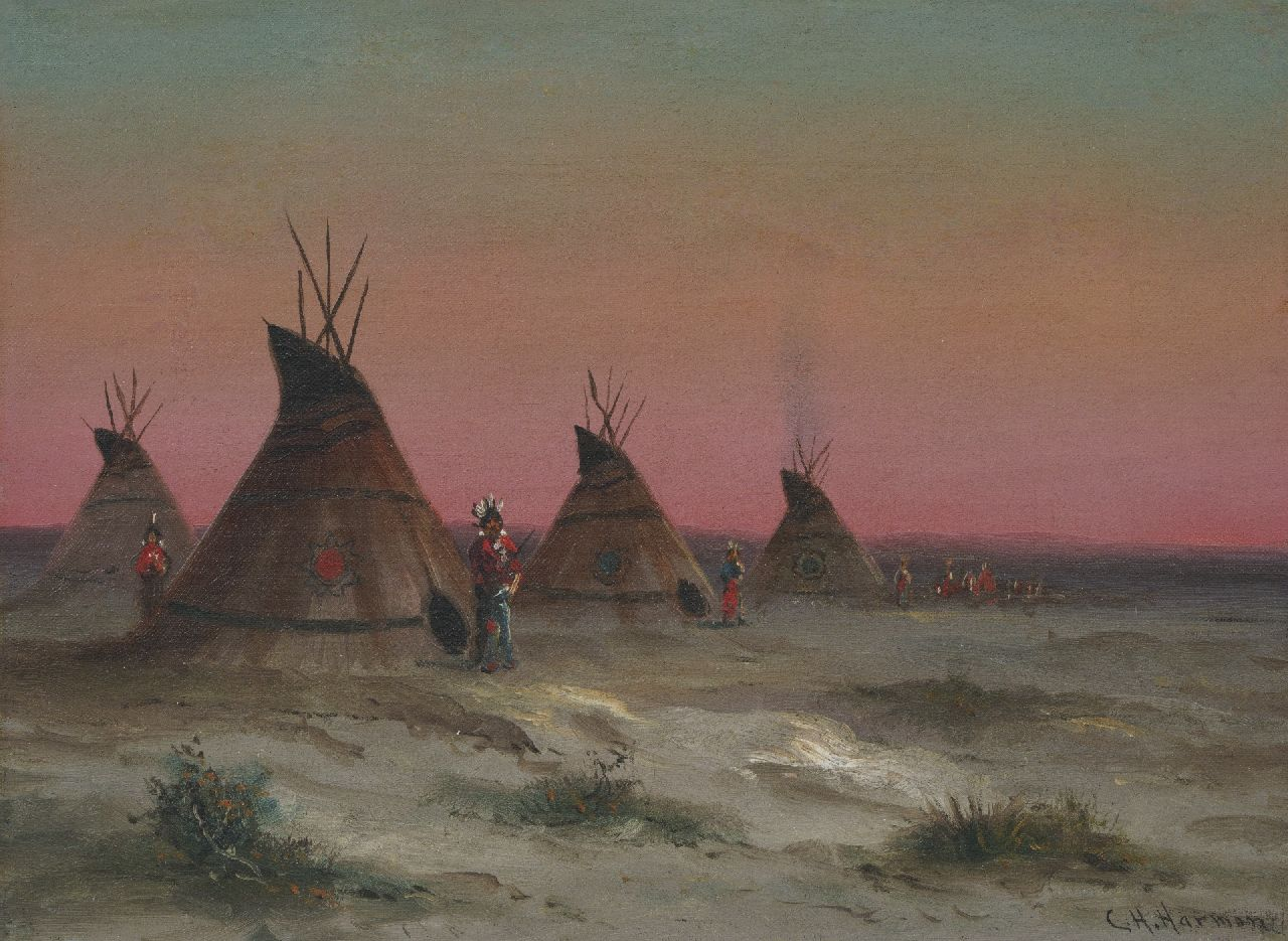 Charles Henry Harmon | Landscape with Indians, oil on canvas, 23.0 x 30.8 cm, signed l.r.