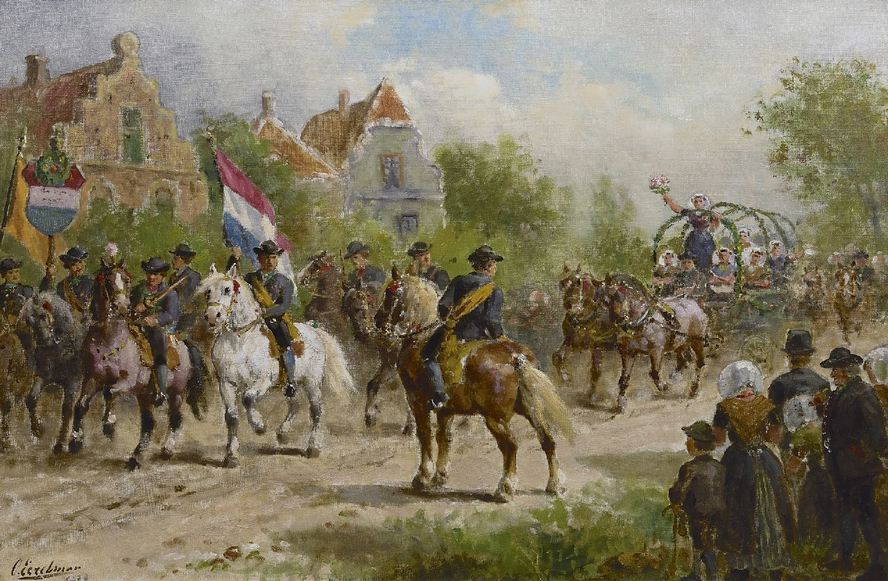 Eerelman O.  | Otto Eerelman | Paintings offered for sale | A peasant's parade in Oudeland, Zuid-Beveland, oil on canvas 60.4 x 90.6 cm, signed l.l. and dated 1923