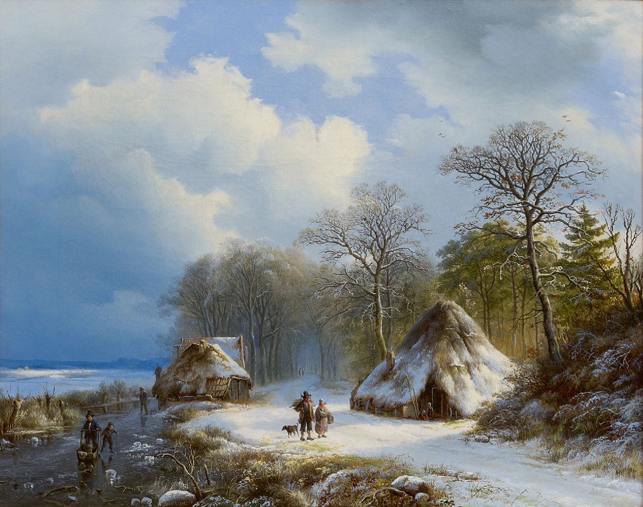 Bodeman W.  | Willem Bodeman | Paintings offered for sale | A winter landscape with skaters and wood gatherers, oil on canvas 43.0 x 54.0 cm, signed l.c. and l.r. (indistinctly) and dated '38 and 1838