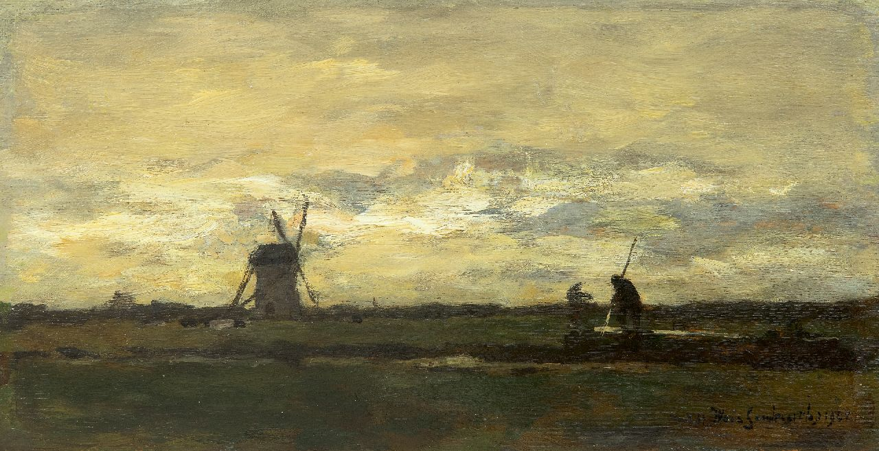 Weissenbruch H.J.  | Hendrik Johannes 'J.H.' Weissenbruch | Paintings offered for sale | Landscape with stippling farmer and windmill, oil on panel 16.2 x 31.2 cm, signed l.r. and dated 1901