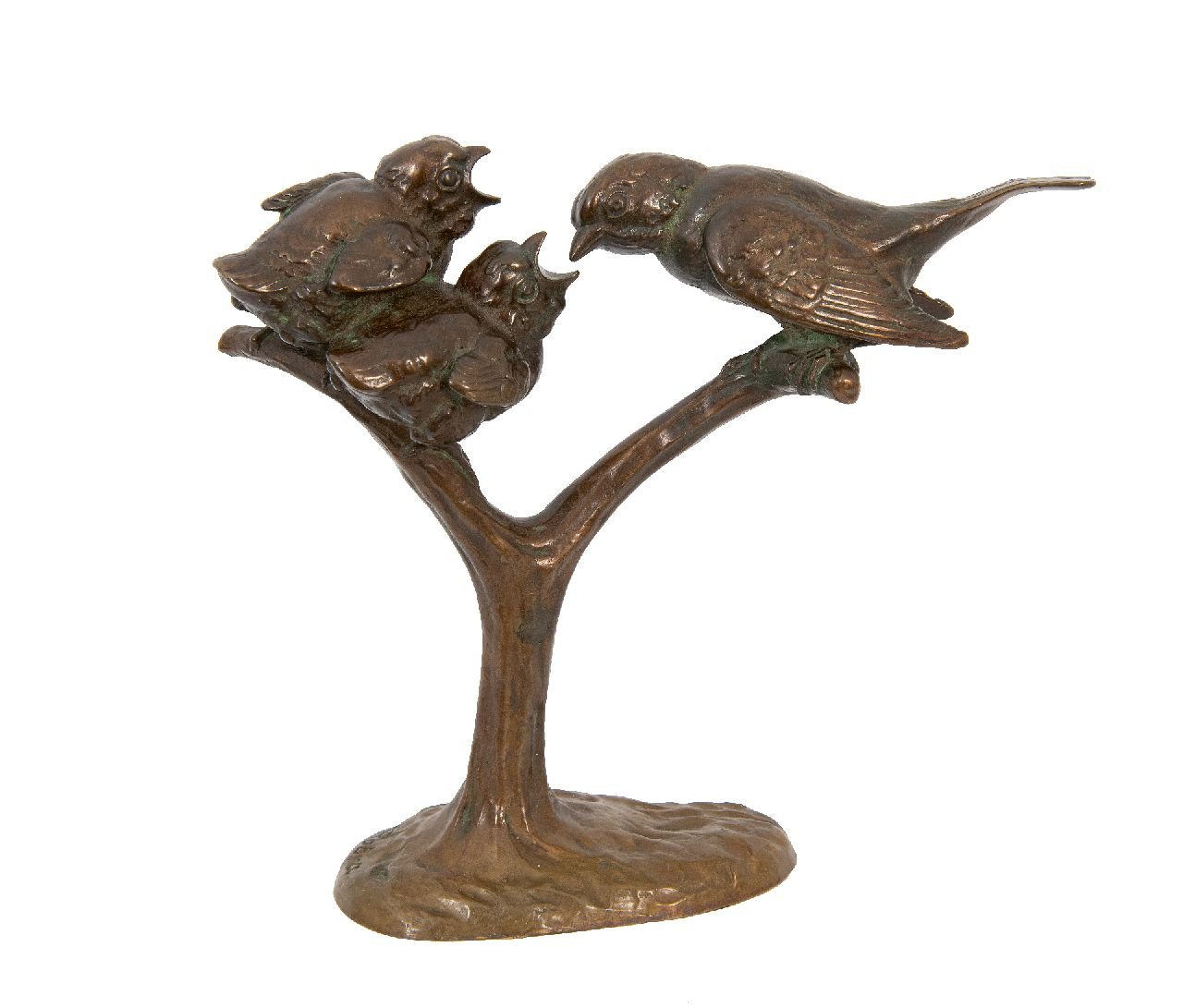 Wilhelm Carl Robra | Mother bird with young, bronze, 16.5 x 18.0 cm, signed on the base