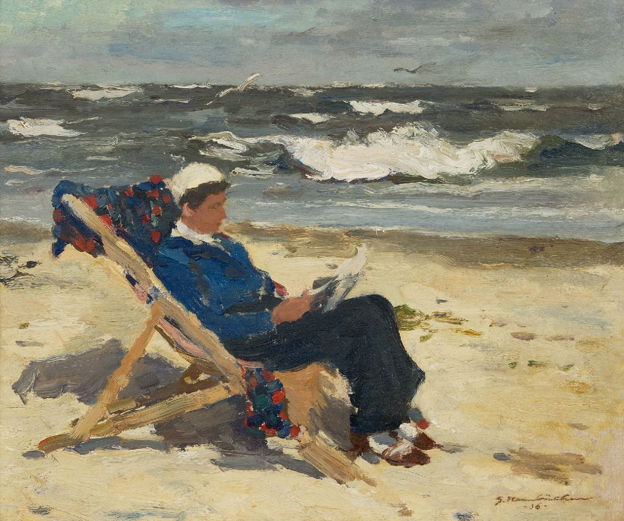 Georg Hambüchen | Lady reading in a beach chair, oil on board, 38.4 x 46.0 cm, signed l.r. and dated '36